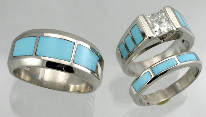 Matching Ladies and Gents three ring wedding set in 14KT white gold with Sleeping Beauty turquoise inlay and diamonds.