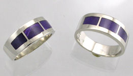 Sterling Silver Wedding Bands with Sugilite Inlay by James Hardwick