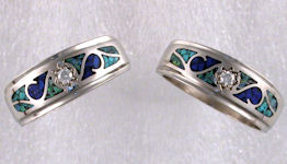 Matching Wedding Bands with diamonds and mocaic inlay. 14KT white gold