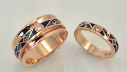 14KT rose gold matching wedding bands with gemstone inlay and diamonds.