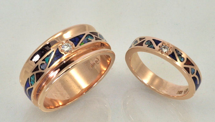 Enlarged view of 14KT rose gold wedding bands with diamonds and gemstone inlay by James Hardwick