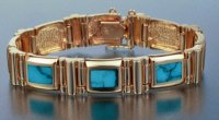 JM49-14kt link bracelet w/solid stone turquoise inlay