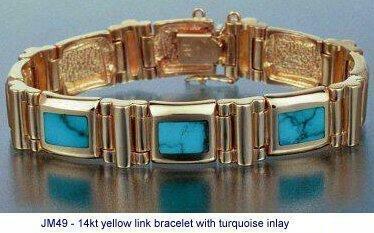 Jm49 14kt Link Bracelet W Solid Stone Turquoise Inlay