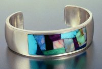 JM60-Sterling Silver cuff bracelet with solid stone inlay