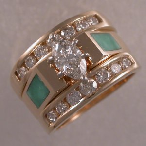 Custom made three-ring wedding set with diamonds and turquoise