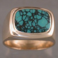 JR179-Gents 14kt yellow ring with turquoise