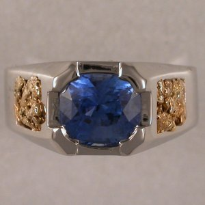 JR197-gents ring in 14KT white gold with gold nuggets & 4.14ct sapphire