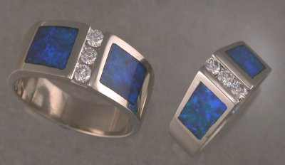 Matching 14KT white gold rings.  JR195 & JR59 with opal and diamonds