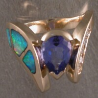 JR61-M  One of a kind tanzanite, opal & diamond ring