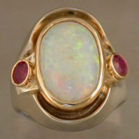 One of a kind ladies ring-opal and rubies