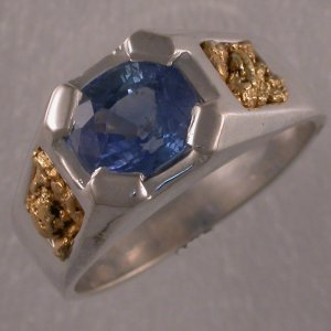 Sterling silver ring with sapphire and natural gold nuggets