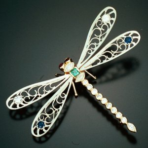 14KT Dragonfly Pin