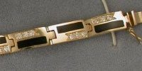JM123-14KY llink bracelet with channel set diamonds and solid stone onyx inlay