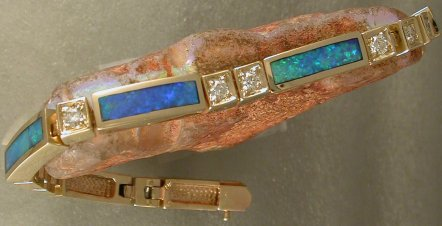 JM50M-Modified version of JM50 bracelet-14KTY gold, diamonds and opal inlay