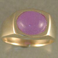 JR180-gents 14ky ring with purple jade cabachon