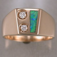 JR181-14KTY gents ring with diamonds and opal inlay.
