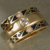14KT tracer bands with diamonds and chip inlay