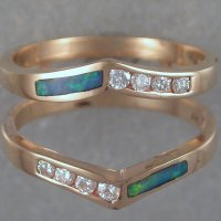 Custom Ring Guards-14KT yellow gold, diamonds, opal inlay